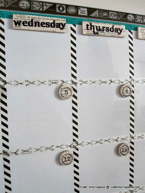 Craft, Interrupted: Washi Whiteboard Calendar w/ Magnets