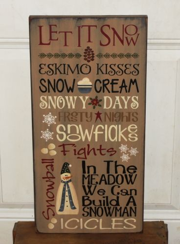 This primitive winter typography sign turned out so nice! I have started it with a tan background over black and then distressed the sign and edges. It has a mixture of many things that come to our mind in the Christmas and winter season. It can be used throughout the entire season for you home décor.It would be a nice decoration to hang or sit with a winter grouping. Your choice of a sawtoothhanger on the back orwire at the top. Measures approx. 11.5 x 24   When