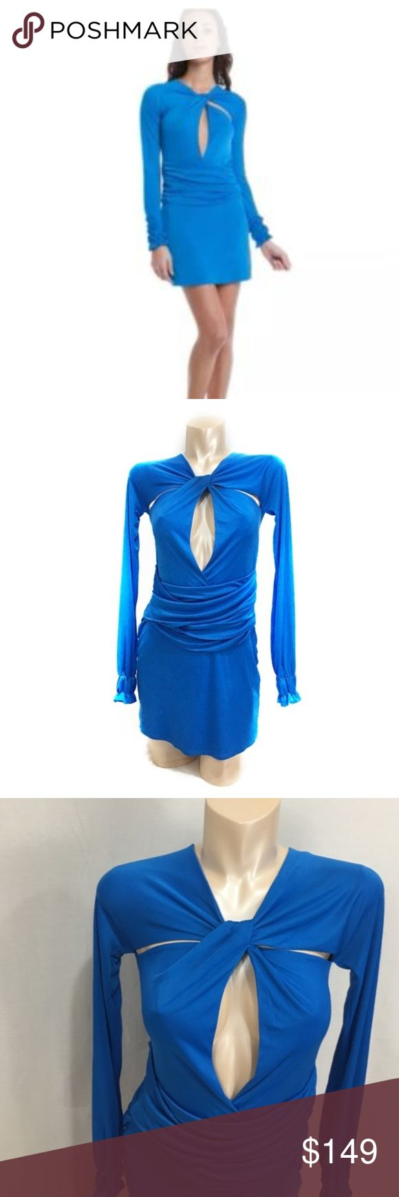 Rock&Republic keyhole plunge blue mini dress sz 2 Rock&Republic keyhole plunge blue mini dress sz 2.  Beautiful blue color  Sexy front cutouts and plunge keyhole make this dress a standout piece. Higher neckline and long sleeves to make it just the right amount of skin for a mini. New with tags. Size 2. Measurements are approx and in inches B-13+ due to keyhole w-12 h-17 length-32 sleeve-29 (moderate stretch)  Materials in pics  Original Retail price $374 New with tags  B309 Rock & Republic…