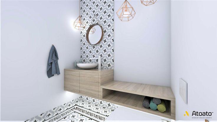#atoato.pl #interior #design #modern #style #toilet #copperlamp #wood #colors #projektywnętrz #pasja #wnętrza #wc #biel #miedź