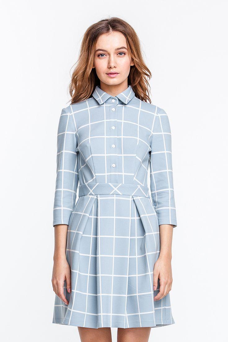 Платье голубое в белую клетку мини с острым воротником и планкой купить в Украине, цена в каталоге интернет-магазина брендовой одежды Musthave