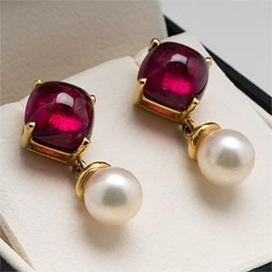 Rubellite Tourmaline & Pearl Dangle Earrings 18K Gold - EraGem