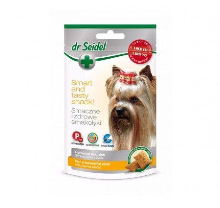 dr Seidel Smakołyki dla psów na piękną skórę i sierść. Smakołyki dla psów szczególnie polecane w czasie linienia, przy problemach z sierścią i skórą oraz przed wystawami. Wzbogacone o skrzyp polny i cynk. Skrzyp poprawiający wygląd sierści i zapobiegający chorobom skórnym. Cynk zwiększający odporność skóry i przyspieszający gojenie się ran. Produkt dostępny w poręcznym opakowaniu ze strunowym zamknięciem.