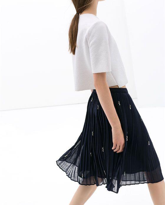 BEADED FINE PLEAT SKIRT - Skirts - WOMAN | ZARA United States
