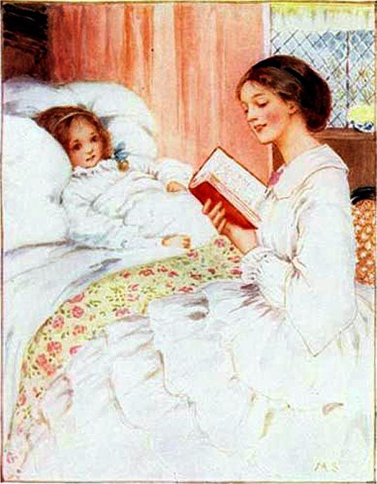 Mother reads to child.