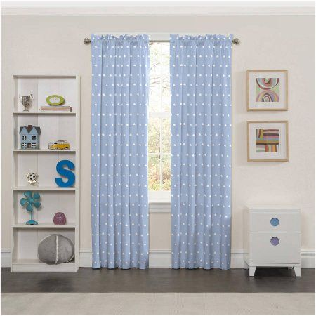Eclipse Kids Cozy Clouds Print Thermal Blackout Window Curtain Panel, Blue