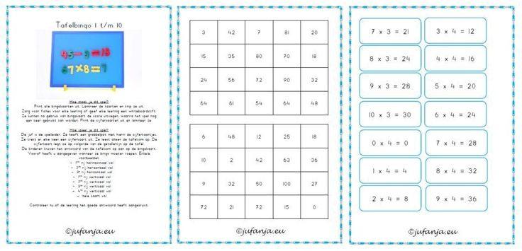 bingo tafels 1 t/m 10Rekenen Tafel, Tafel Oefenen, Schools Groep, Lager Onderwijs, Schools Rekenen, Rekenen Groep, Education, Bingo Tafel, Juf Anja