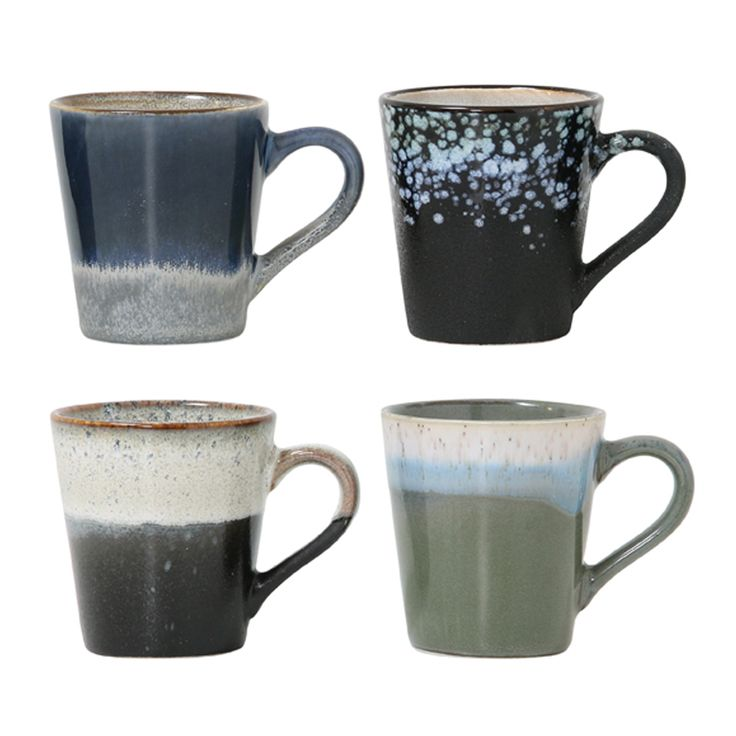 Ceramic 70's Style Espresso Mugs Set Of 4: Set of 4 ceramic espresso mugs with different finish in seventies style. The mugs are dishwasher and microwave safe. The volume of the mugs is 80 ML.