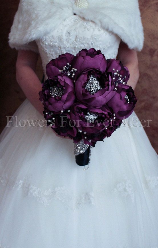Florence Purple Peony &  Brooch Bouquet by FlowersForEverAfter, $399.00