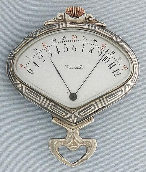 Fine silver and niello sector watch by the Record Watch Co. circa 1900. White enamel dial (clean hairlines) with red and black numbers and blued steel hands. The hands traverse the dial and then snap back to zero. The case with a moose within a floral border. Gilt 15 jewel movement.