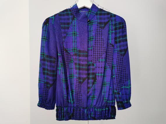 Vintage 80/'s Purple Puff Secretary/'s Blouse