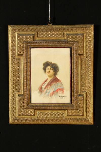 Acquarello su carta. In basso a destra firma dell'autore e luogo (Venezia). Presentato in bella cornice guillochè,con vetro.