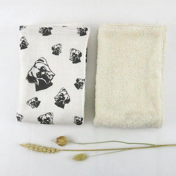 Boxer Dog Organic Baby Burping Cloths Set Organic Muslin And