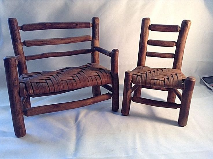 Details About ANTIQUE OLD HICKORY SALESMAN SAMPLE DOLL FURNITURE SET   SETTEE U0026 SIDE CHAIR VGC