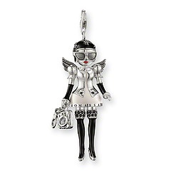 "T0246-041-11.  Thomas Sabo.  Pendant ""Doll"" with lobster clasp  925 Sterling silver  Black syn. zirconia; creme-, grey-, red- and black-enamelled  The doll with the angel's wings, high heels, handbag and handcuffs embodies the tongue-in-cheek ""Miss Naughty"" of love. The various elements move freely.   Size: 4.7 cm"