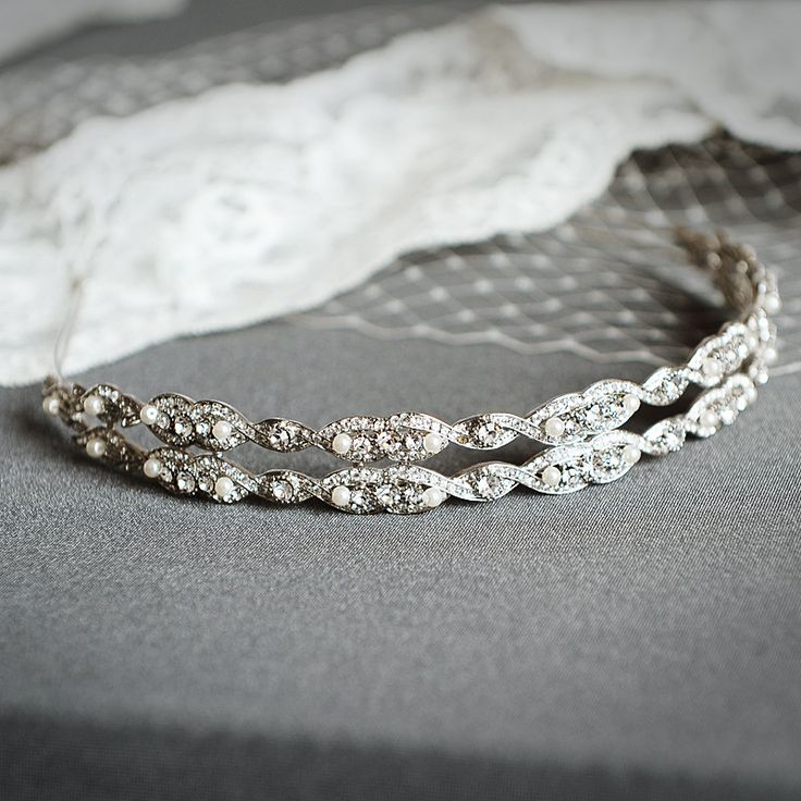 GABRIELLE Vintage Wedding Headband Oval by GlamorousBijoux on Etsy, $84.00