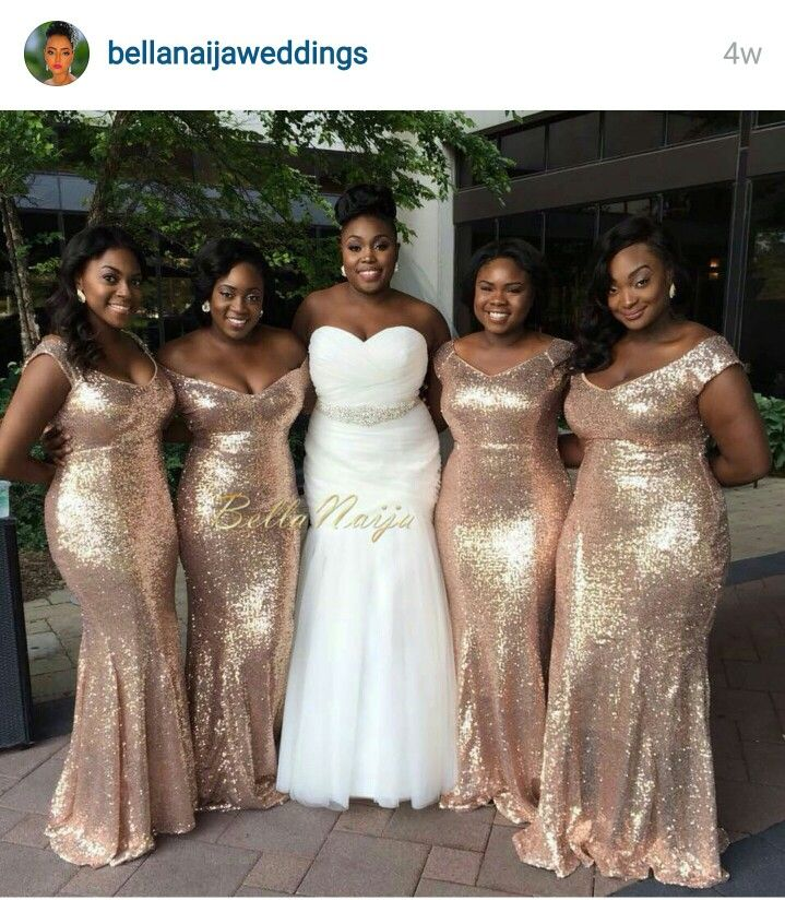 Gold sequin bridesmaids dress are a must!