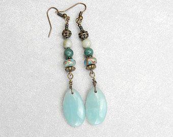 boucles d'oreilles,fantaisie, mode,tendance,bohème chic, pierres naturelles, pendentif amazonite,jaspe,agate  bleu vert, bronze