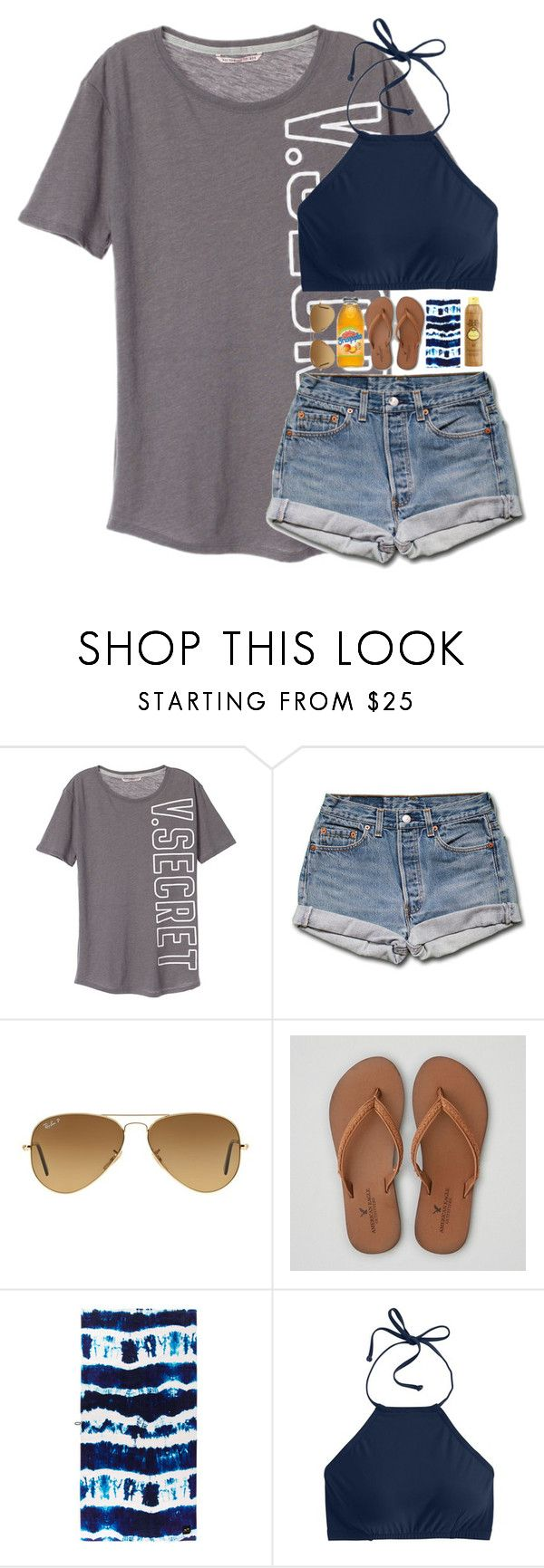 """""""Going to a pool party for my Uncle's step daughter"""" by abigailcdunn ❤ liked on Polyvore featuring Victoria's Secret, Ray-Ban, American Eagle Outfitters, Sun Bum and J.Crew"""
