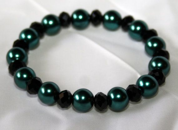 Stretch Bracelet with Teal Faux Pearls and by AnomalieAccessories