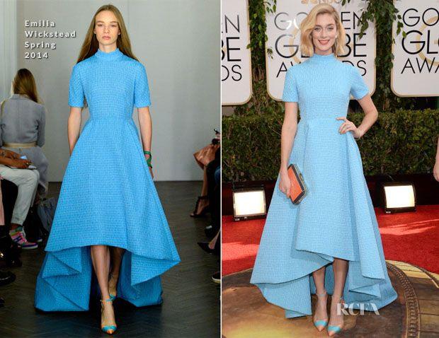 Caitlin Fitzgerald In Emilia Wickstead - 2014 Golden Globe Awards. Blue  Dress ...
