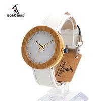 Бобо птица J27 Брендовые женские часы бамбук и стали Кварцевые часы натуральная кожа полоса с деревянной подарочной коробке Relojes Mujer принять ...