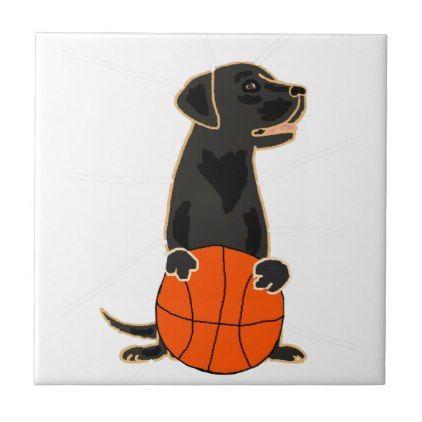 #Funny Labrador Retriever Playing Basketball Tile - #labrador #retriever #puppy #labradors #dog #dogs #pet #pets