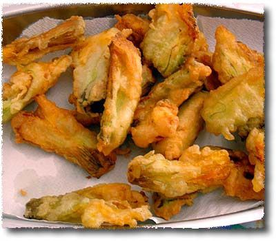 Fried Zucchini Blossoms - we should also do this with Broccoli, but I didn't know what to look for in terms of recipes, so I just pinned a picture