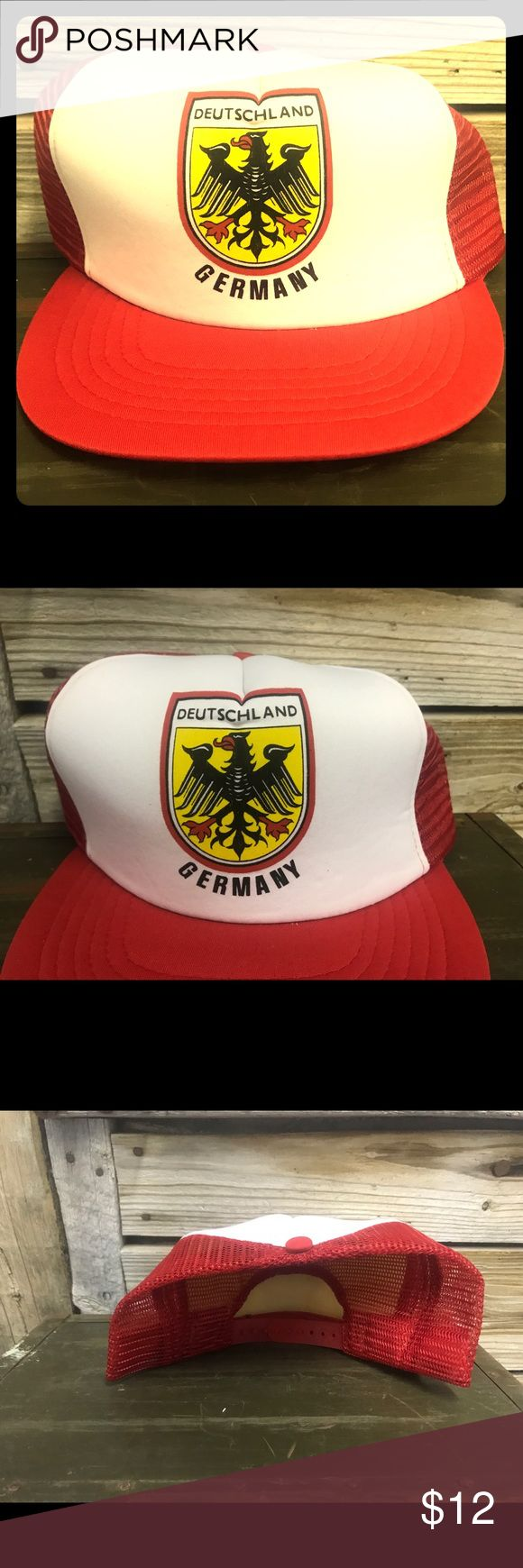 Vintage Deutschland Germany snapback trucker hat Red yellow and white 1980s vintage trucker hat Very minimal wear One size fits most adults Ships quickly Other