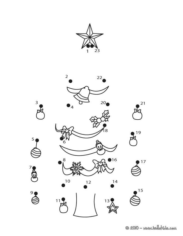 www.hellokids.com : Print page Xmas tree dot to to dot game