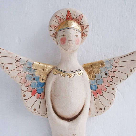 Female Angel figure-ceramic wall sculpture with gold leaf-free shipping