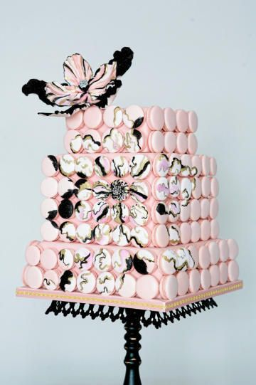 Pink Macaron Wedding Cake with a gorgeous painted sugar flowers - Swoon!  A perfectly combined symetry with asymetry.