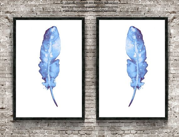 Blue Feather Art Print Set Indian Native by ColorWatercolor