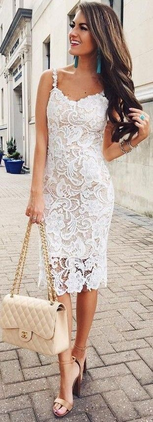 #summer #preppy #outfits    White Lace Midi Dress