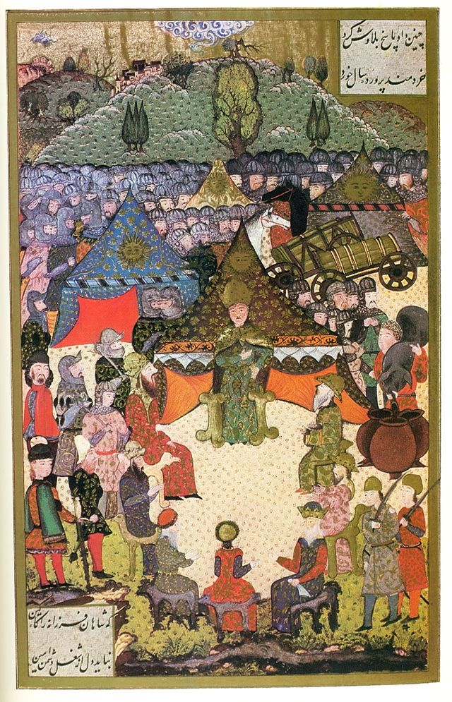War Council of Louis II of Hungary Before the battle of Mohács (Süleymanname (ca. 16th Century CE Ottoman Miniature Painting) -Matrakçı Nasuh)