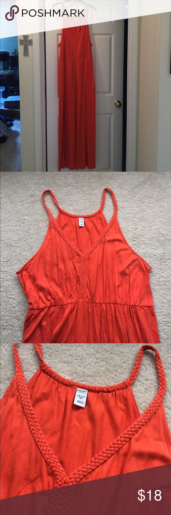Old Navy orange maxi dress Old Navy orange maxi dress, braided top and straps. Size women's XXL. Like new, only worn 1-2 times. Floor length, no slit in skirt. Old Navy Dresses Maxi