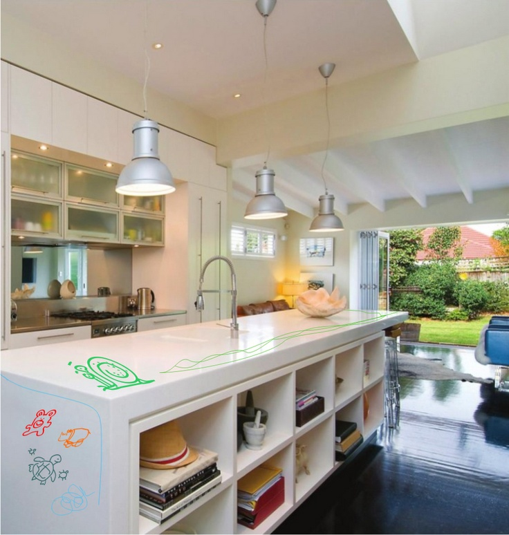 shelves on the other side of the island: Decor Ideas, Kitchens Design, Open Shelves, Interior Decoration, Kitchens Inspiration, Kitchens Ideas, Houses Ideas, Kitchen Inspiration, Flats White
