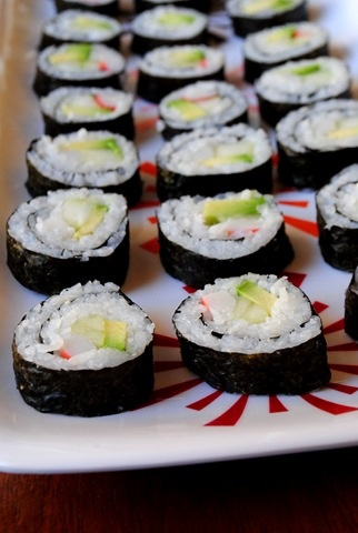 """California Rolls Recipe -""""Made these today! So easy and quite good (I'm a first time sushi maker, so you know it's easy!). I used brown rice in mine and I needed about 1 cup per sheet of nori.   (7 Weight Watchers Points Plus)"""""""