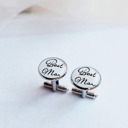Manžetové knoflíčky Best man #bestman #wedding #cuffs #cufflinks #handmade #crystal #resin