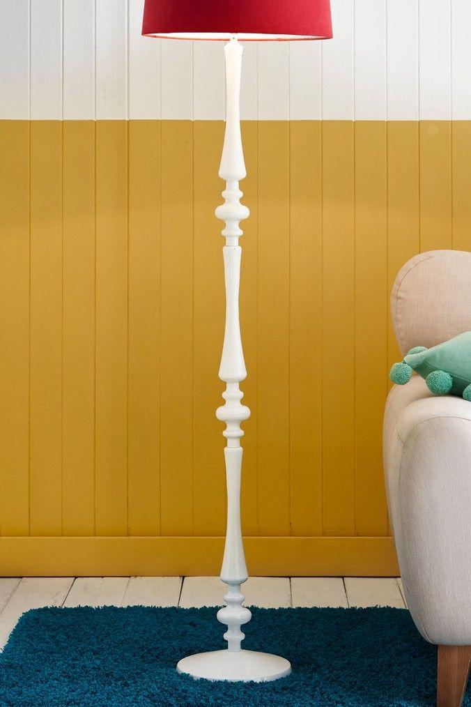 Retro Large Spindle Lamp Base White