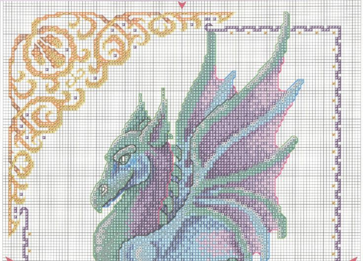 Mythical blue and purple dragon with fancy border full free cross stitch - Page 1