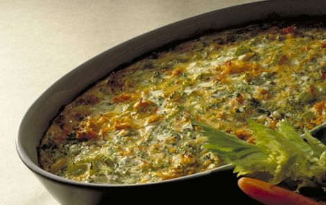 Bagte grøntsager med hytteost
