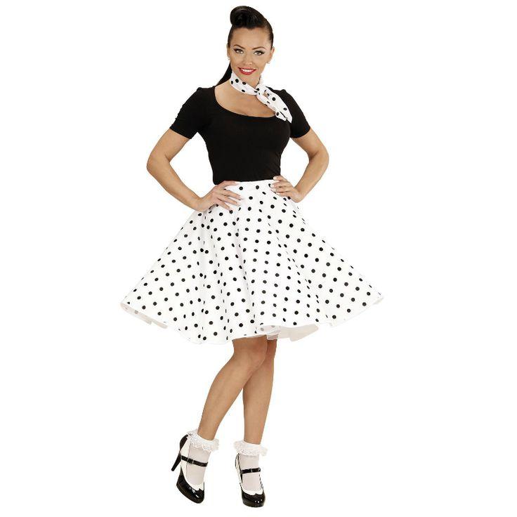 Disfraz de Falda Años 60 Blanca #disfraces #carnaval