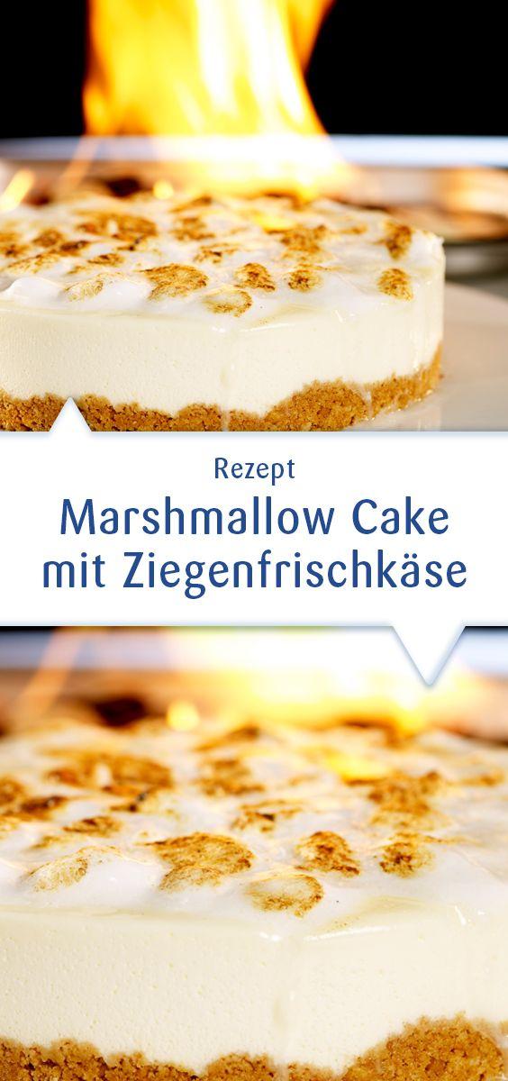 """Ein Kuchen mit Ziegenfrischkäse und Marshmallows! Na klar. Mit mildem Snøfrisk wird dieser flambierte Cake, der sonst nur im Kühlschrank """"gebacken"""" wird, einfach lecker. Dieses Rezept und mehr unter http://www.snofrisk.de/rezepte.php"""