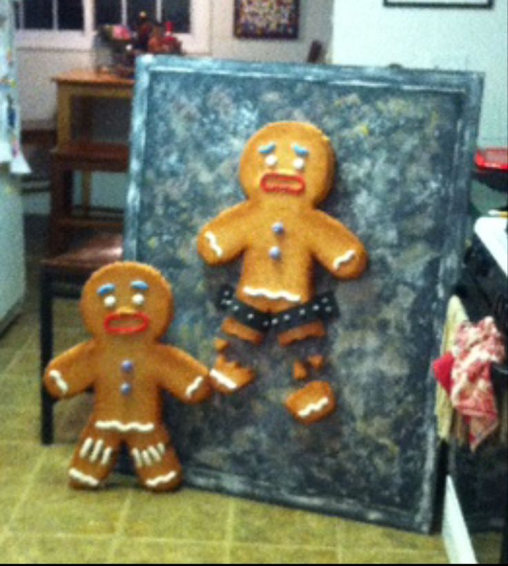 """Gingy puppet- made of felt, attach leg with some snaps.  """"Torture pan"""" and portable baking sheet with holes in back for puppetry."""