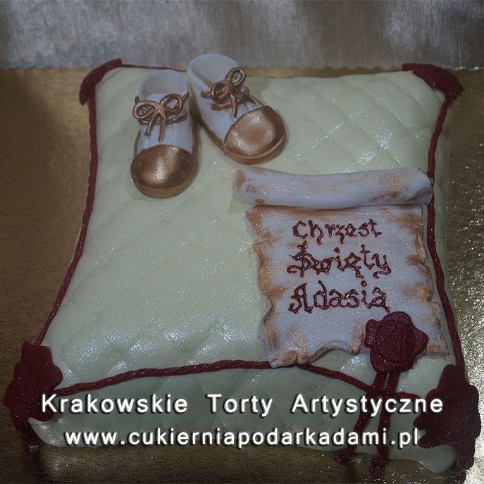 058. Tort królewska poduszka na chrzciny. Royal pillow cake for baptism.