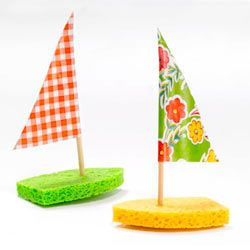 Make a splash with crafty boats made of kitchen sponges and chopsticks.