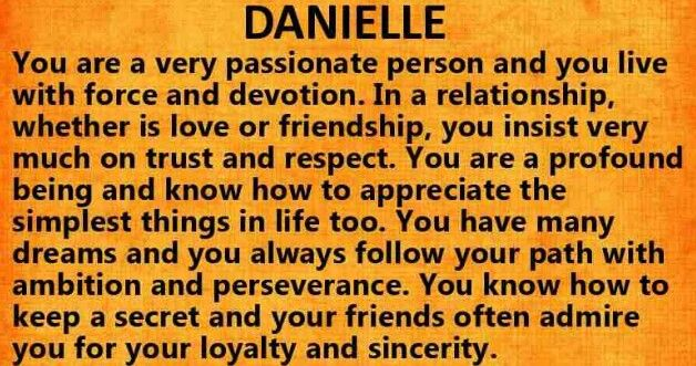 The meaning of DANIELLE