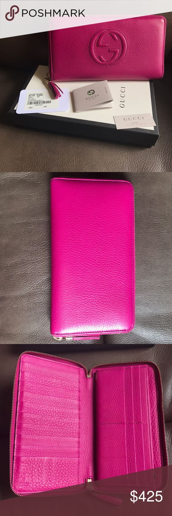 FLASH SALE Authentic XL Soho Wallet Bougainvillea Used several times. In great condition, however, zipper area has light piling. Comes with original packaging. Was originally purchased last year at Gucci Beverly Center in Los Angeles, CA. Note this is the larger version that allows you to easily access all your cards. The standard one doesn't open up like this. Goes for $580 + tax. NO TRADES! Feel free to make an offer Gucci Bags Wallets