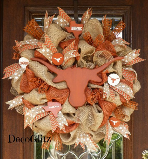 BURLAP and LONGHORNS University of TEXAS Wreath by decoglitz